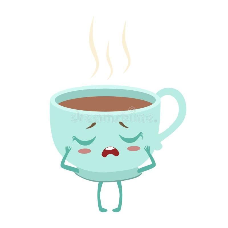 La tazza dell'anime sveglio del caffè caldo ha umanizzato l'illustrazione di vettore di Emoji del carattere dell'alimento del fum illustrazione di stock