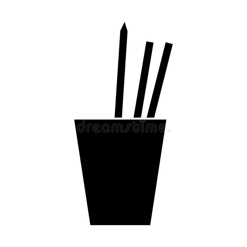La tazza della siluetta disegna a matita il lavoro degli utensili delle penne illustrazione di stock