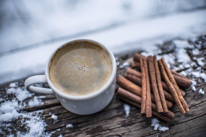 La tazza di caffè bianca con i bastoni di cannella della schiuma, su neve si sfalda wi immagini stock libere da diritti