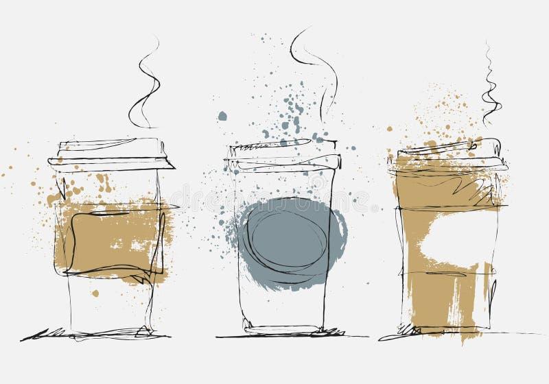 La tazza di caffè eliminabile, arte di vettore ha schizzato l'illustrazione illustrazione di stock
