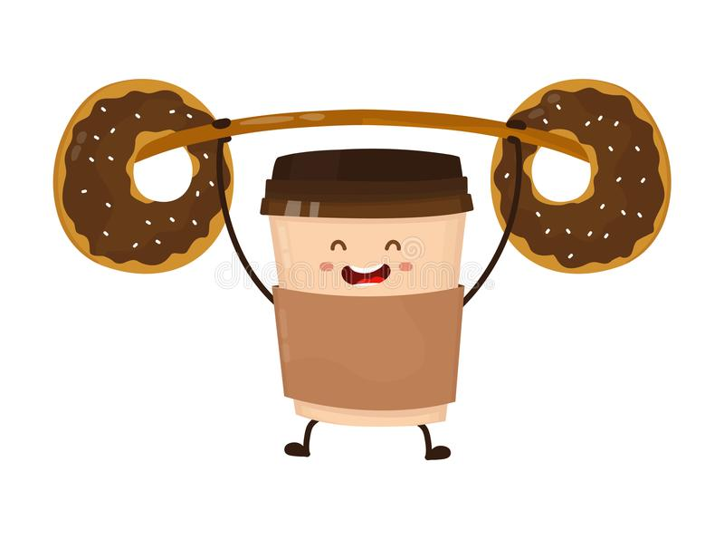 La tazza di carta del caffè solleva il bilanciere illustrazione di stock