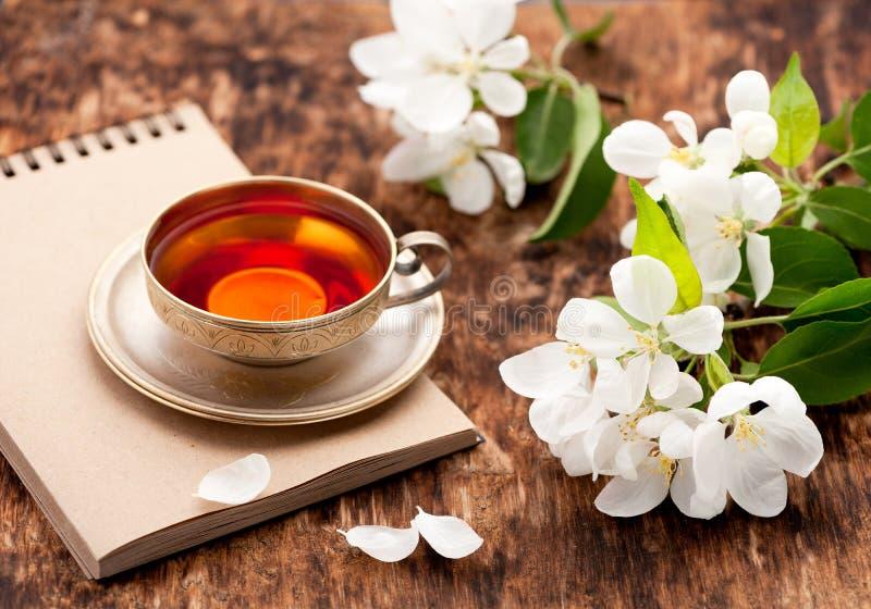 La tazza di tè, il taccuino e la molla bianca fiorisce fotografia stock libera da diritti