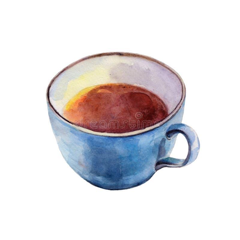 La tazza di tè isolata su fondo bianco, illustrazione dell'acquerello illustrazione di stock