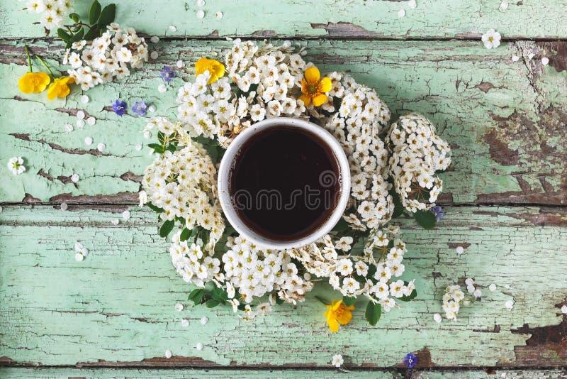 La tazza di tè organico sulla primavera fiorisce il fondo fotografia stock