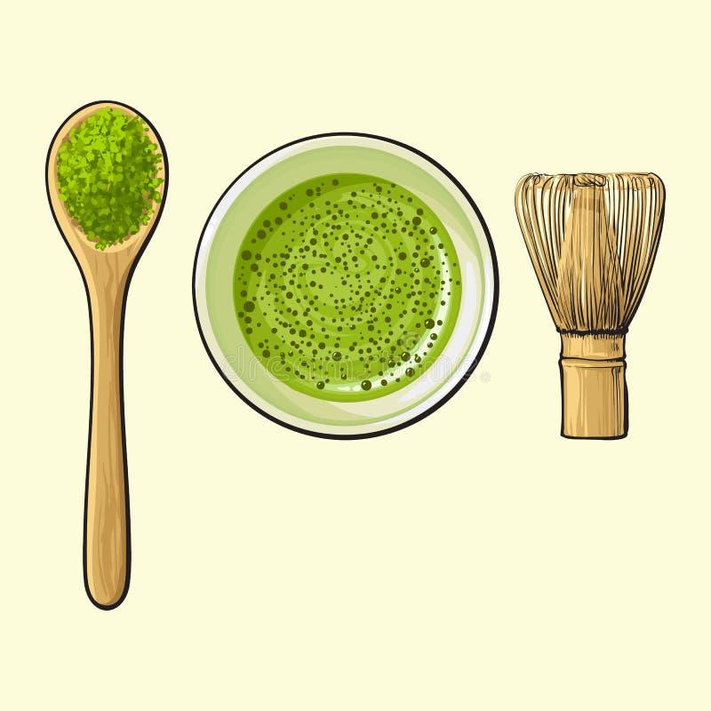La tazza di tè verde, il cucchiaio della polvere di matcha ed il bambù sbattono illustrazione vettoriale