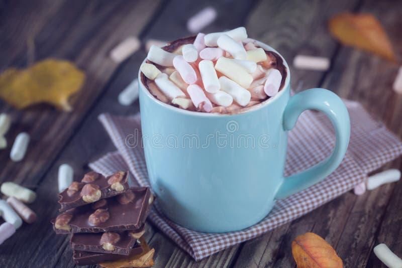 La tazza ha riempito di cioccolata calda e di caramella gommosa e molle, con cioccolato, fotografie stock libere da diritti
