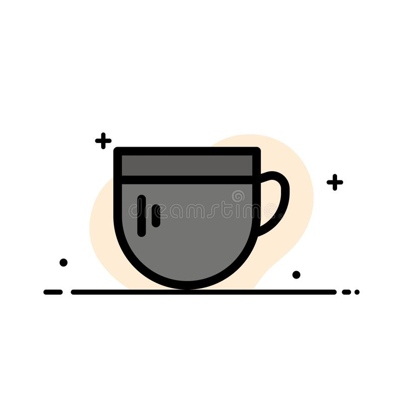 La tazza, tè, caffè, linea piana di affari di base ha riempito il modello dell'insegna di vettore dell'icona royalty illustrazione gratis