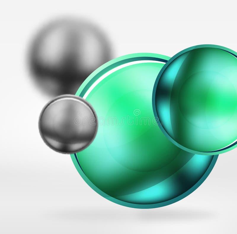 La technologie a brouillé des sphères et des cercles ronds avec la surface brillante et métallique illustration libre de droits