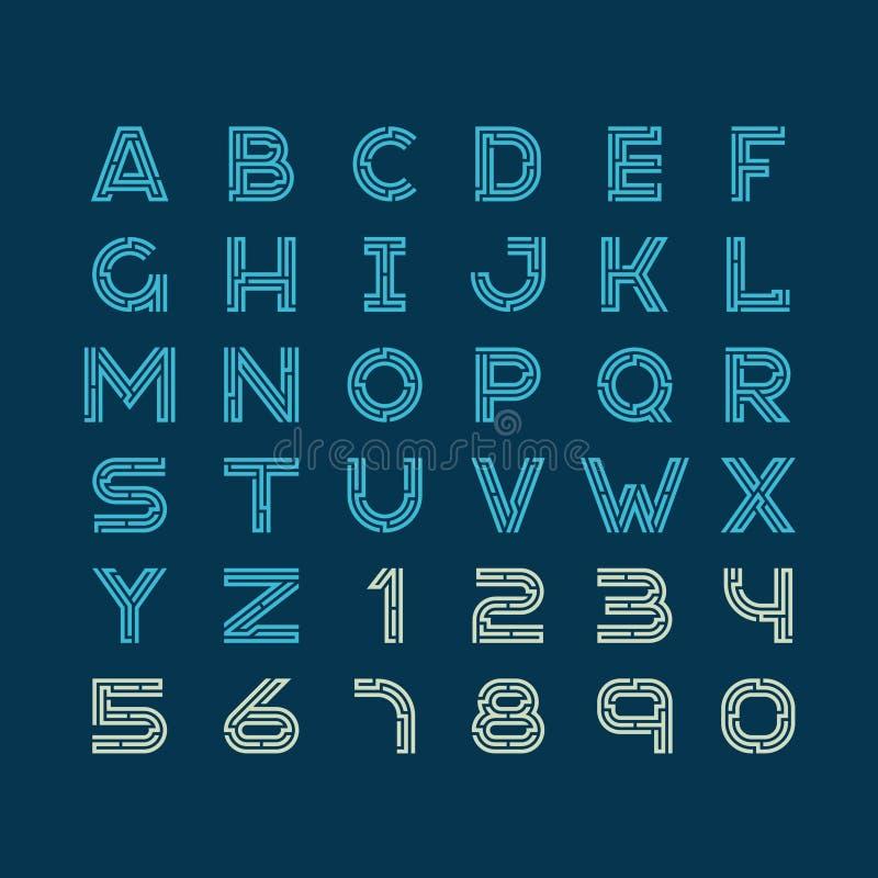 La technologie de labyrinthe marque avec des lettres la police linéaire de style illustration stock