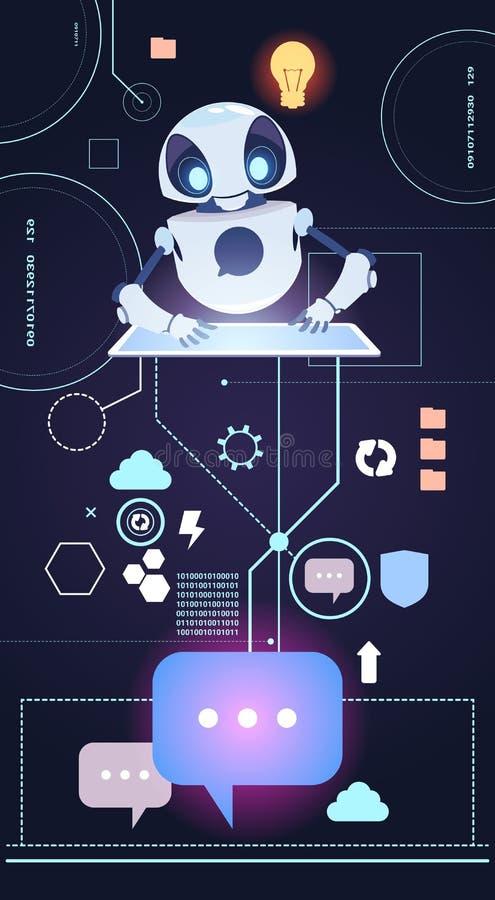 La technologie de robot de Chatbot, Bot de broutement répondent à des questions utilisant le concept virtuel d'aide de Tablette d illustration de vecteur
