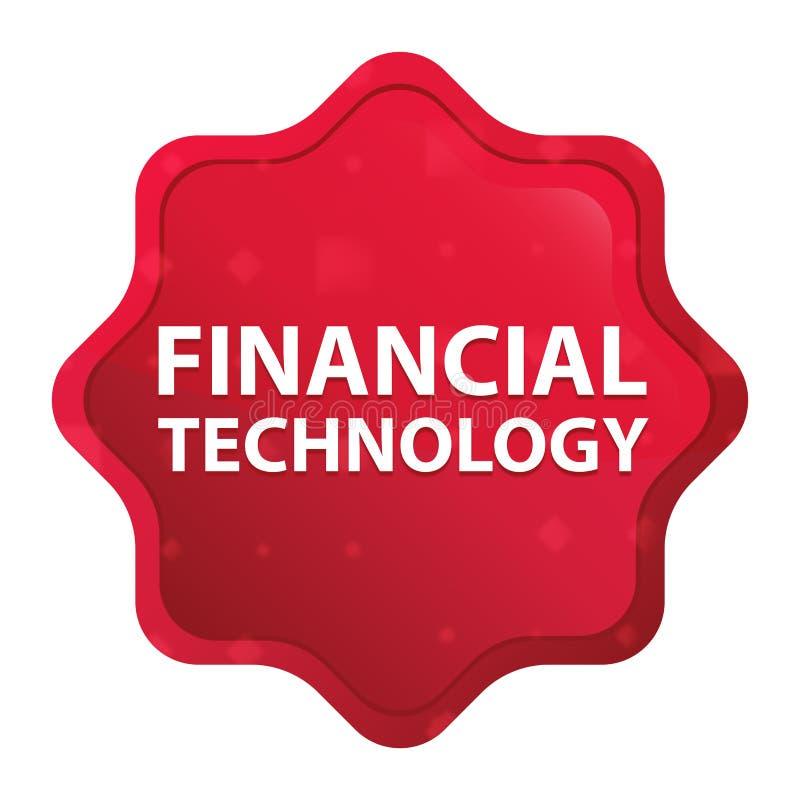 La technologie financière brumeuse a monté bouton rouge d'autocollant de starburst illustration stock