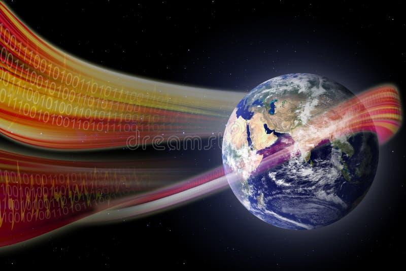 La tecnología agita barriendo nuestro mundo de Digitaces stock de ilustración