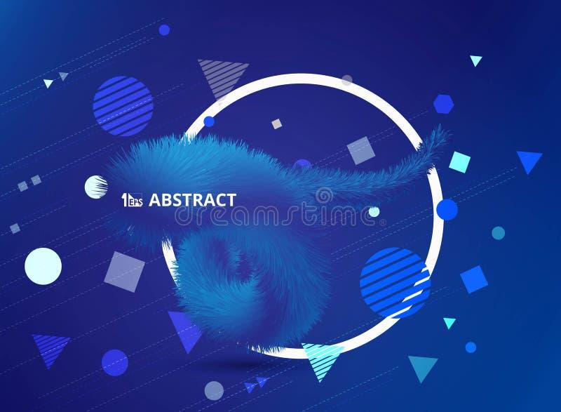 La tecnología azul del color de la pendiente del extracto de las plumas realistas 3D alinea la decoración con diseño geométrico d libre illustration