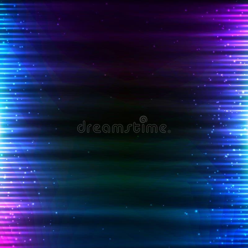 La tecnología brillante azul enciende el fondo de los sonidos ilustración del vector