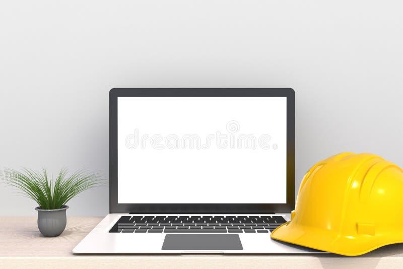 La tecnología de Digitaces de la conexión de la red de ordenadores, casco de seguridad con la pantalla en blanco blanca del orden stock de ilustración
