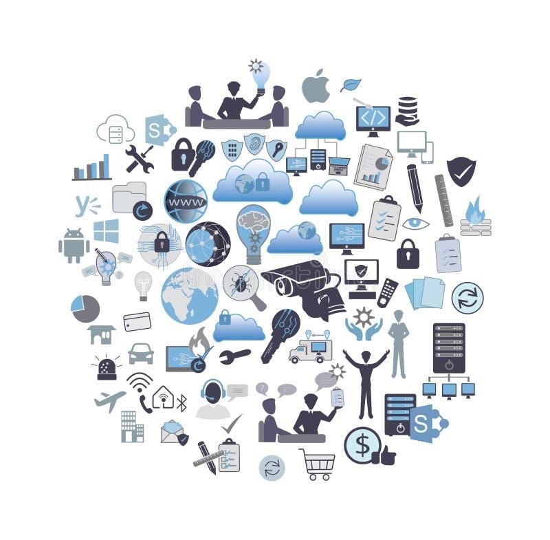 La tecnología de la información relacionó el sistema del icono stock de ilustración