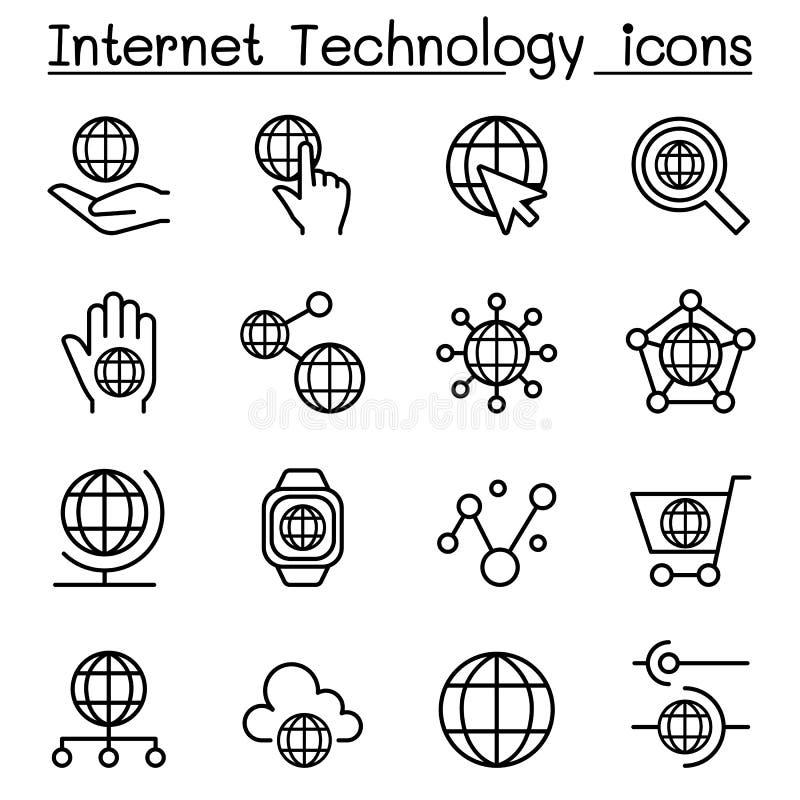 La tecnología de Internet y el icono de comunicación de datos fijaron en la línea fina s ilustración del vector