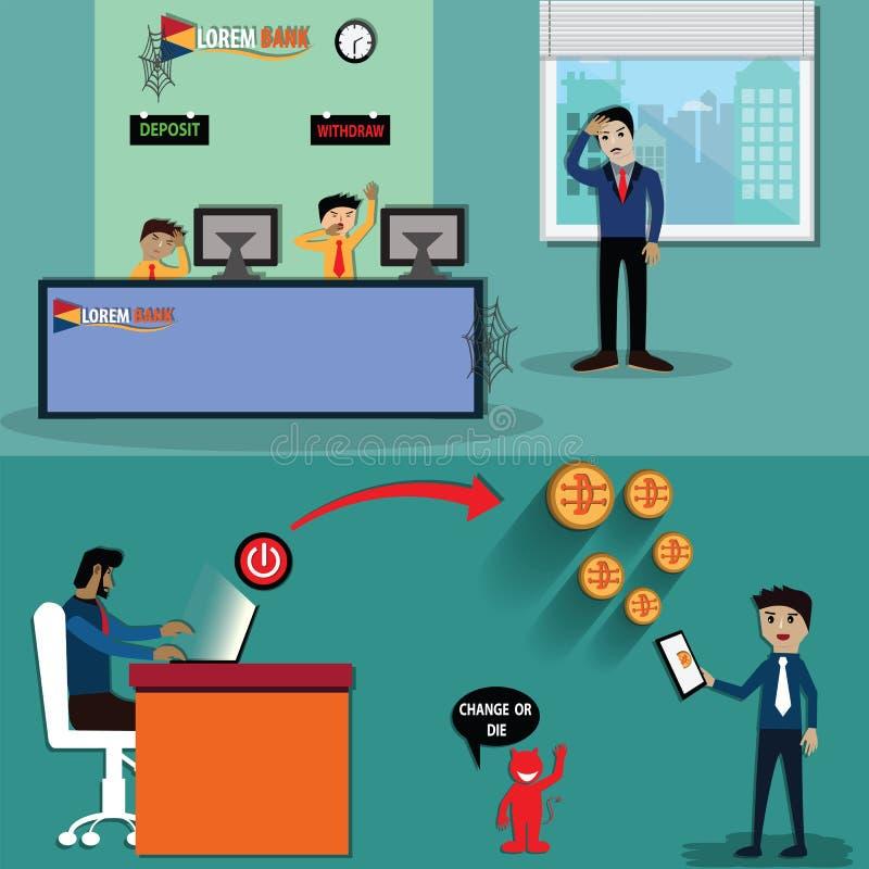 La tecnología de la interrupción, Cryptocurrency está cambiando el modelo comercial de comercial - vector libre illustration