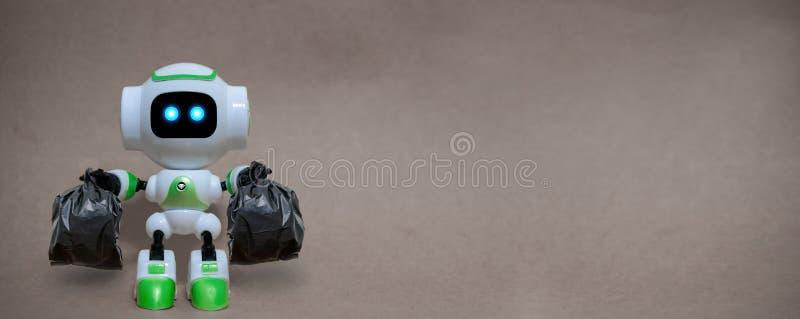 La tecnología de los bolsos de basura del control del robot recicla el ambiente imagen de archivo