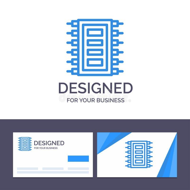 La tecnología de visita de la plantilla creativa de la tarjeta y del logotipo, hardware, microprocesador, ordenador, conecta el e stock de ilustración