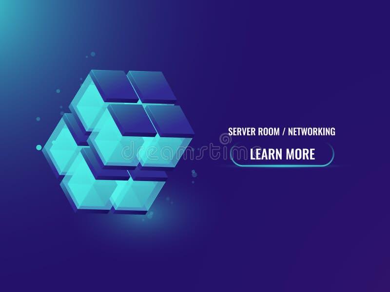 La tecnología del concepto isométrico de Cryptocurrency y de Blockchain resume la bandera, 3d cubo, cadena de bloque de datos, al ilustración del vector