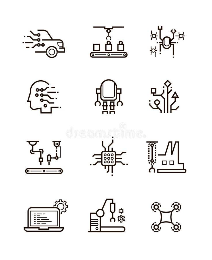 La tecnología del robot y la maquinaria robótica alinean iconos del vector Símbolos de la inteligencia artificial stock de ilustración