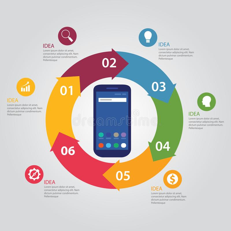 La tecnología del teléfono de la plantilla de Infographic conecta por todo el mundo Smart y 5to concepto de la red de la generaci ilustración del vector