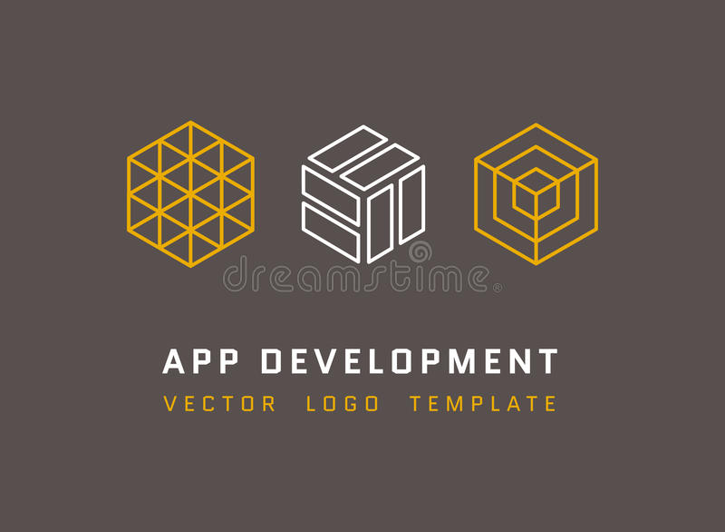 La tecnología, desarrollo, arquitectura, logotipos del vector del estudio del juego fijó en la línea estilo stock de ilustración