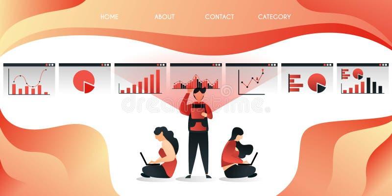 La tecnología hace a empleados y los trabajadores trabajan más fácil y más eficientemente, y pueden trabajar dondequiera, concept stock de ilustración