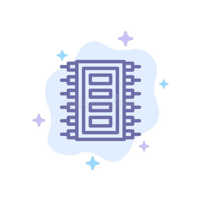 La tecnología, hardware, microprocesador, ordenador, conecta el icono azul en fondo abstracto de la nube ilustración del vector