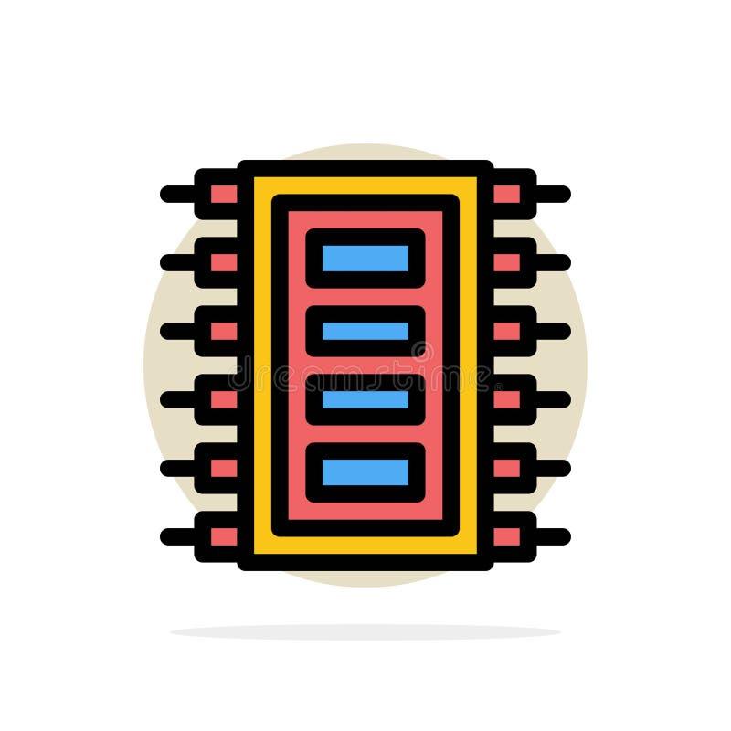 La tecnología, hardware, microprocesador, ordenador, conecta el icono plano del color de fondo abstracto del círculo libre illustration