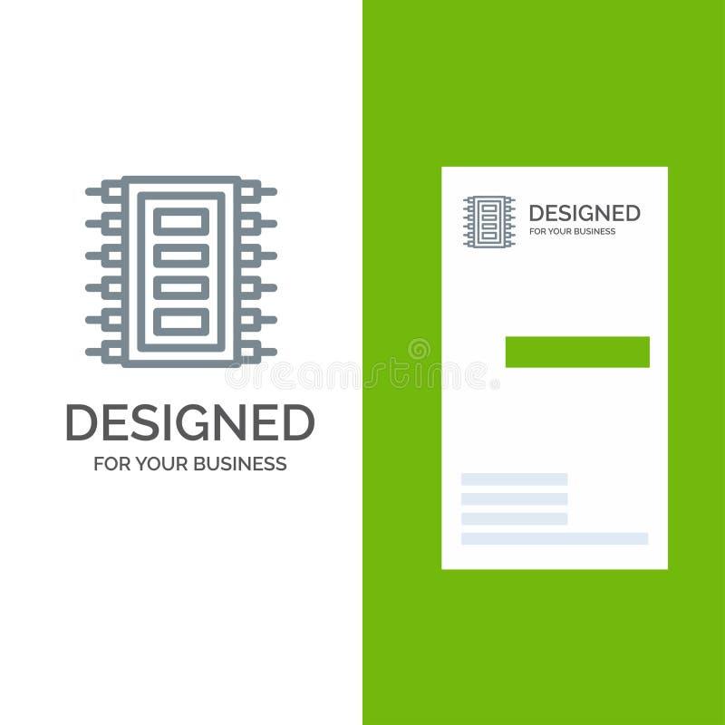 La tecnología, hardware, microprocesador, ordenador, conecta Grey Logo Design y la plantilla de la tarjeta de visita stock de ilustración