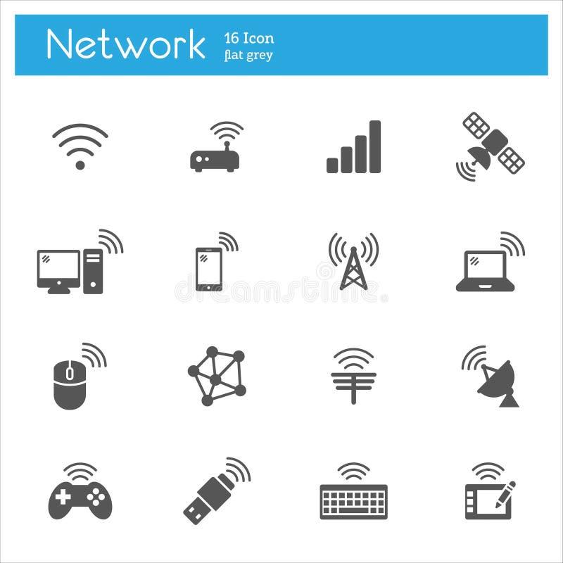 La tecnología inalámbrica, iconos grises de Networkflat fijó de 16 libre illustration