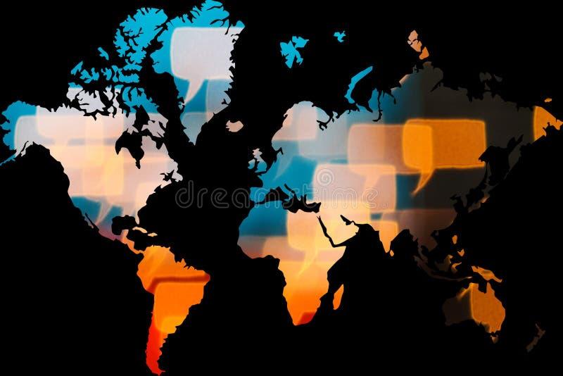 La tecnología interconecta todo el mundo en la tierra del planeta stock de ilustración