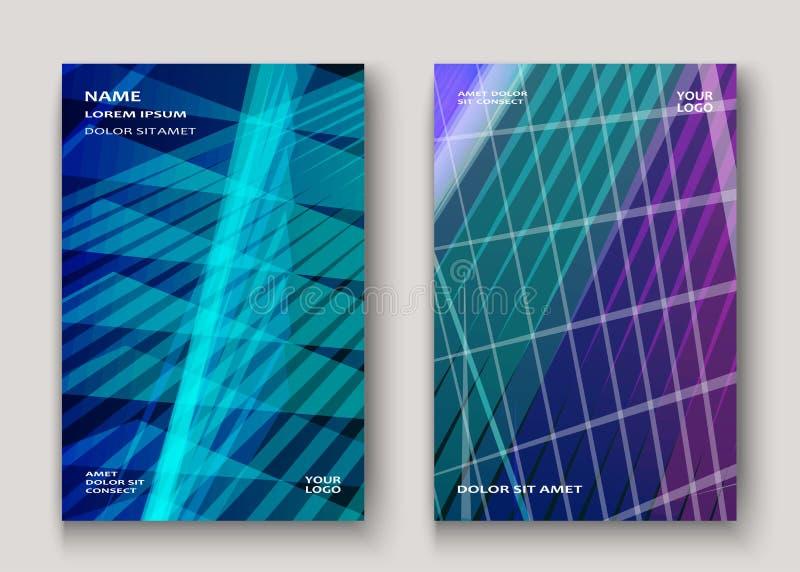 La tecnología moderna rayó el azul abstracto del diseño de las cubiertas Línea de neón libre illustration