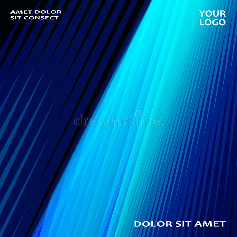 La tecnología moderna rayó el azul abstracto del diseño de las cubiertas Línea de neón stock de ilustración