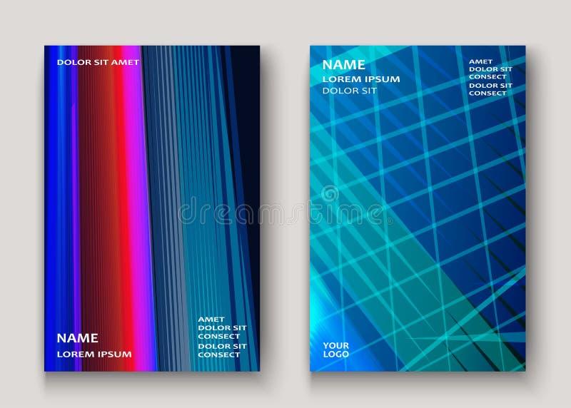 La tecnología moderna rayó rojo azul del diseño abstracto de las cubiertas neón libre illustration