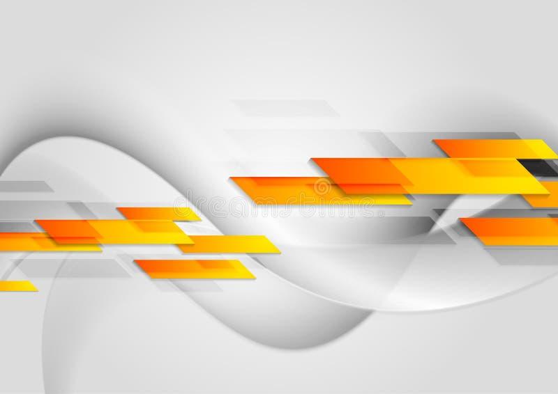 La tecnologia arancio luminosa modella su fondo ondulato grigio royalty illustrazione gratis