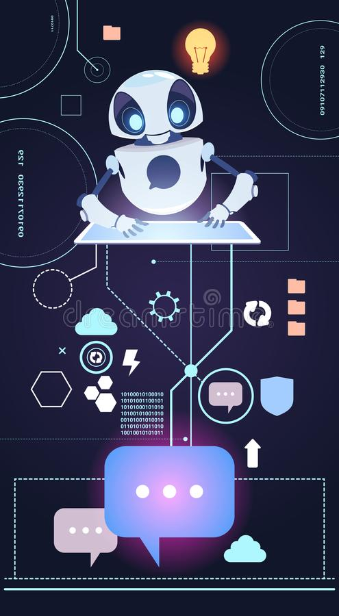 La tecnologia del robot di Chatbot, Bot di schiamazzo risponde alle domande facendo uso del concetto virtuale di assistenza della illustrazione vettoriale