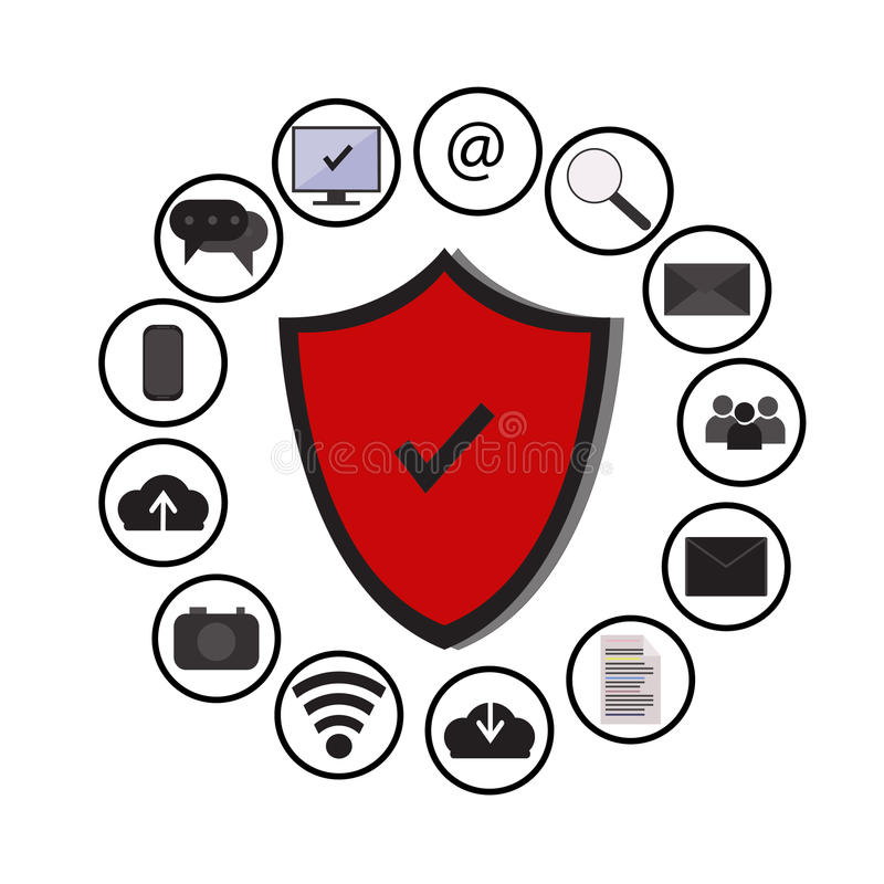 La tecnologia della protezione di dati di gestione e la sicurezza della rete della nuvola, icone hanno fissato il vettore, il blu illustrazione di stock