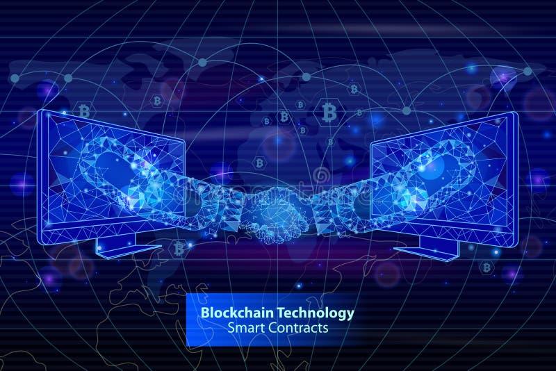 La tecnologia di Blockchain contrae il vettore del manifesto illustrazione vettoriale