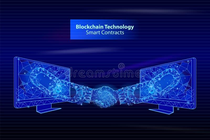La tecnologia Smart di Blockchain contatta il vettore del manifesto illustrazione vettoriale