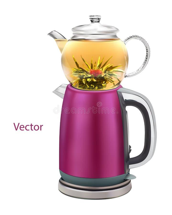La teiera turca isolata realistica della foto con il doppio ha impilato i bollitori permettendo che il tè sia fatto in uno mentre illustrazione di stock