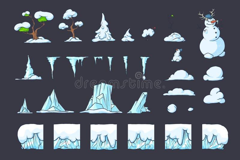 La teja del invierno fijada para el juego de Platformer, tierra inconsútil del vector bloquea diseño de juegos ilustración del vector