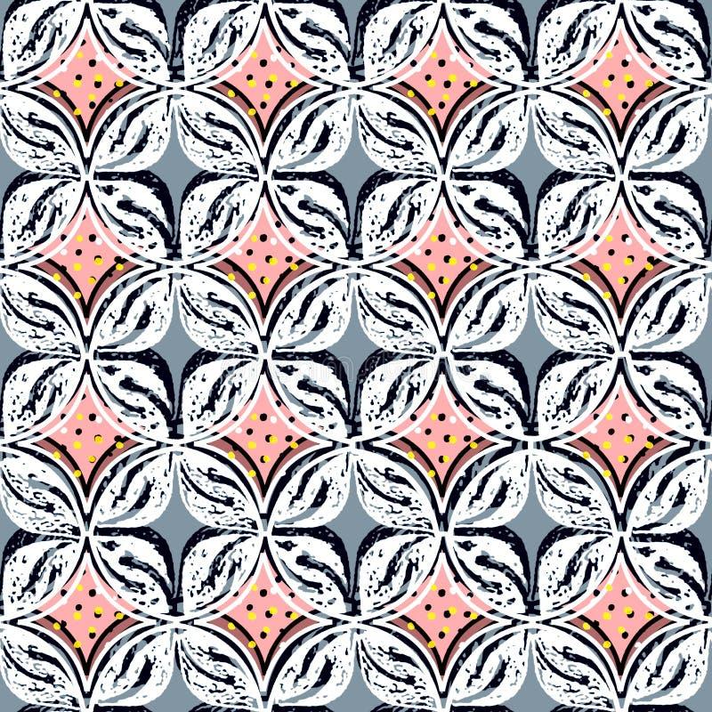 La teja geométrica del gris y del melocotón imprime con la capa del círculo y los puntos coloreados dispersados libre illustration