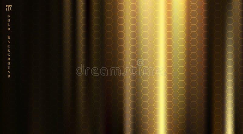La tela de oro con el pliegue liso y los dobleces destacan sombras profundas en fondo negro con textura del modelo de los hexágon libre illustration