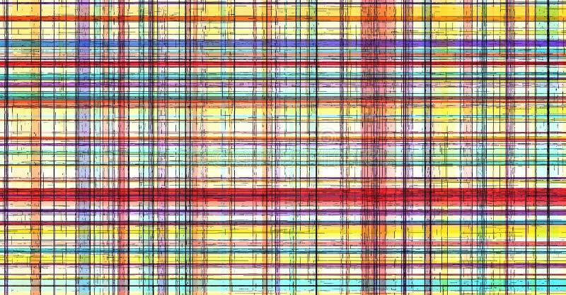 La tela escocesa abstracta raya la línea de color, tela ilustración del vector