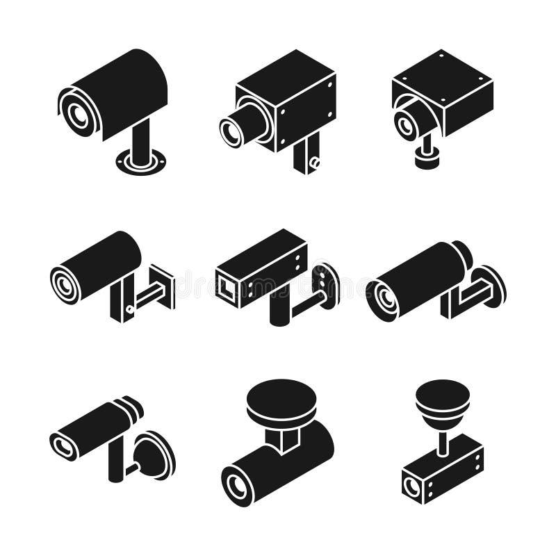 La telecamera all'aperto di sorveglianza, vettore del cctv delle videocamere di sicurezza ha isolato le icone illustrazione vettoriale