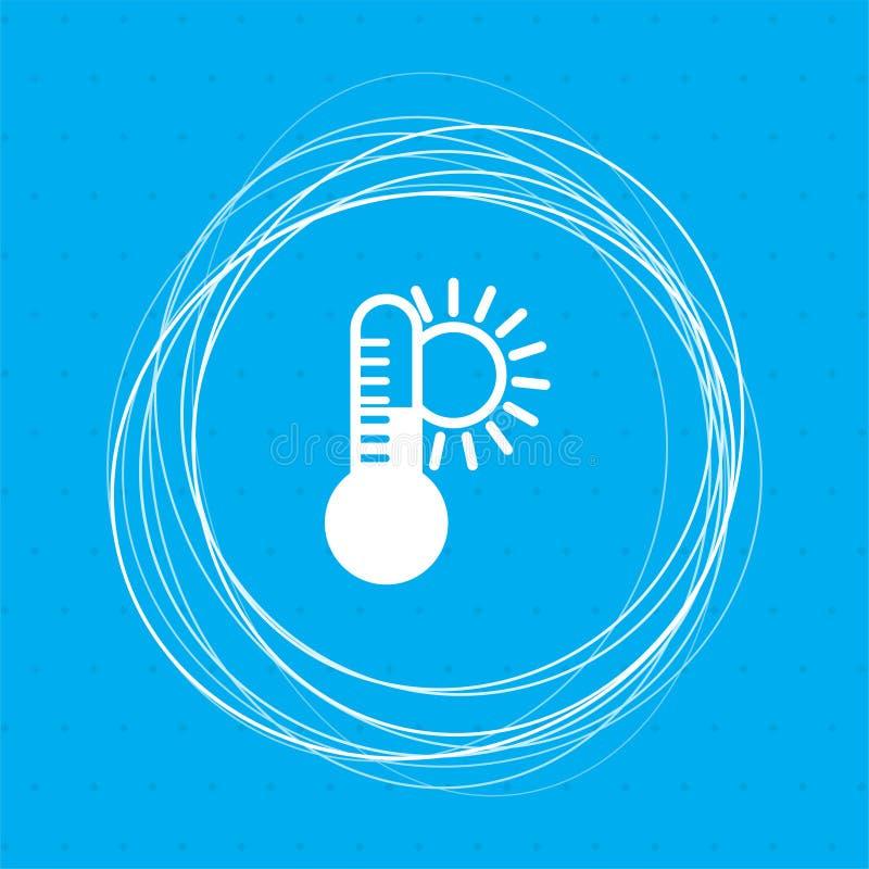 La température, thermomètre de médecine, icône de climat de temps sur un fond bleu avec les cercles abstraits autour de et l'endr illustration de vecteur