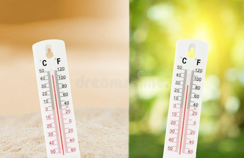 La température tropicale, mesurée sur un thermomètre d'extérieur avec comparent entre la nature photographie stock libre de droits